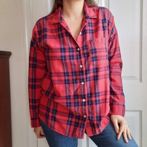 Old Navy Size L Plaid Flannel Shirt Red